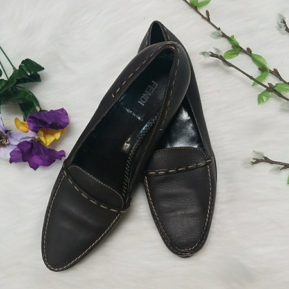 FENDI Brown Logo Buckle Leather Flats Loafers Size 37.5